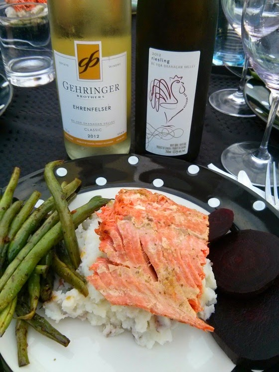 Szechwan Green Beans, Garlic Mashed Potatoes, & Teriyaki-glazed Salmon with Gehringer 2012 Ehrenfelser and Red Rooster 2012 Riesling