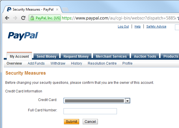 Confirming identity with a credit card on PayPal