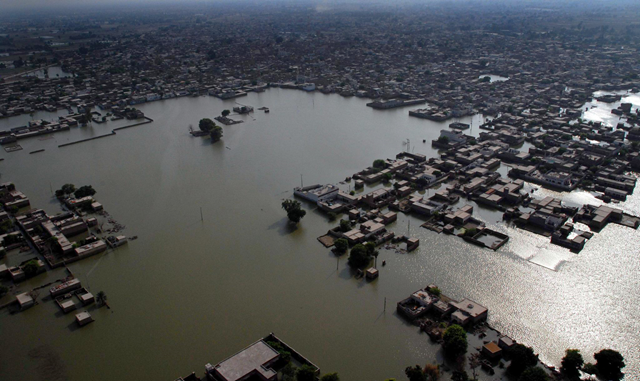 Aerial view of flooded city in Pakistan, 13 September 2011. MSNBC