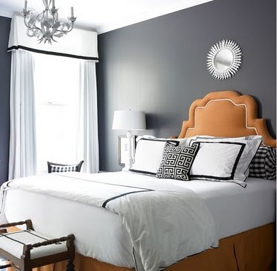 The gentle lines of this creamy orange headboard support a Halloween tint that is plush and sleek. (www.linihome.blogspot.com)