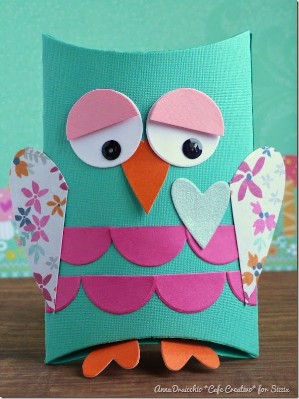 cafe creativo - big shot sizzix - owl pillow box - gufi scatolina (3)