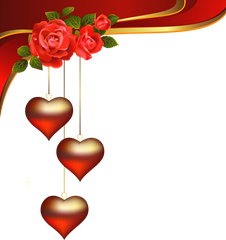 Hearts Pendants with Roses Element Clipart