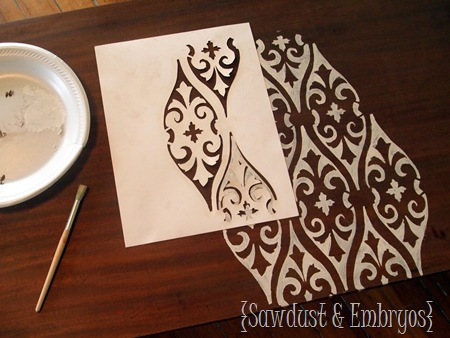 How to Stencil a Coffee Table {Sawdust and Embryos}