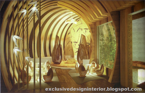 Bamboo cafe design interior for Bamboo designs for interior designing
