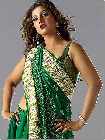 rambha in green saree