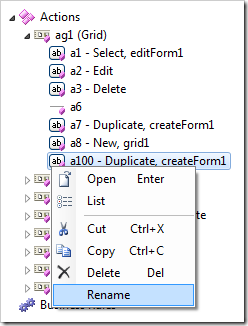 Rename context menu option for actions in the Project Explorer.