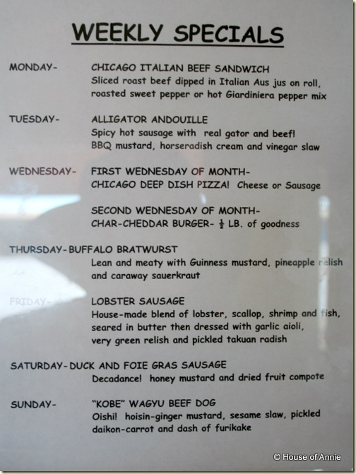 Hank's Haute Dogs Specials