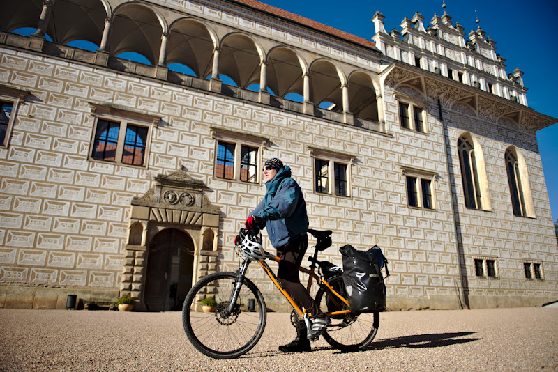 Riding in front of the Renaissance castle from Litomysl, Czech Republic.