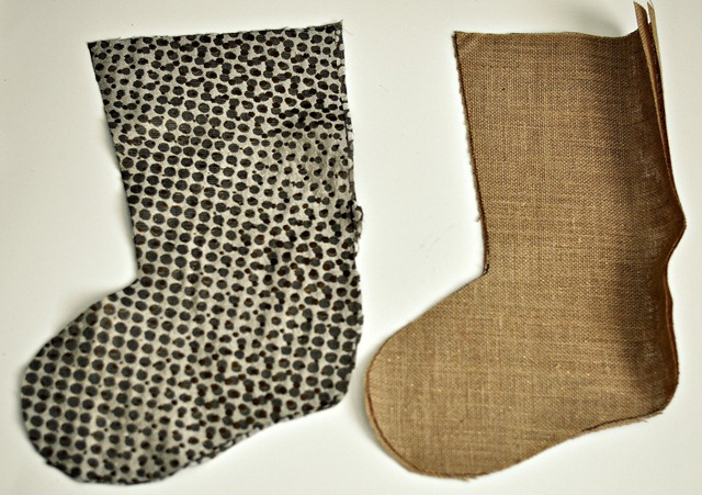 Burlap Stockings Step 1