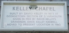 Cape Cod Yarmouthportinside old Kelly chapel sign
