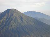 Gunung Prau hiding behind Sindoro, as seen from Sumbing (Daniel Quinn, May 2010)