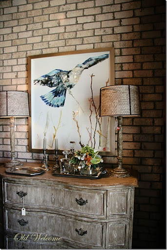 Exceptional Duh Pensacola Bird Painting Credenza Side Board Old Welcome
