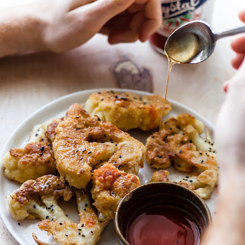 Fried Cauliflower Steaks with Honey + Hot Sauce