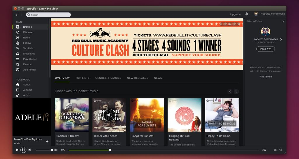 Spotify 0.9.10 in Ubuntu Linux