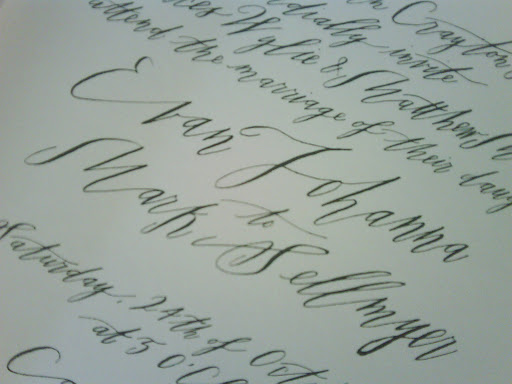 A close-up of Betsy Dunlap's beautiful calligraphy.