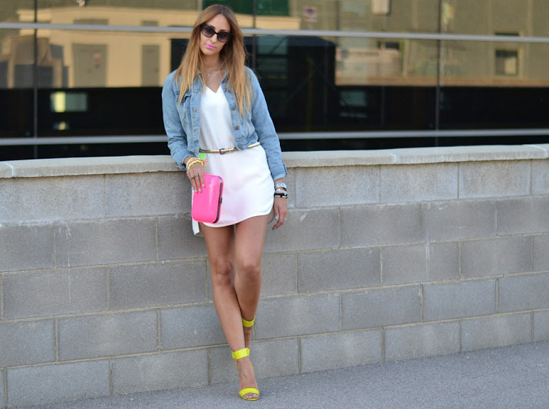 Zara white dress, Oasap.com denim jacket, Neon details, Zara, Zara TRf, Zara Neon, Zara SS 2012