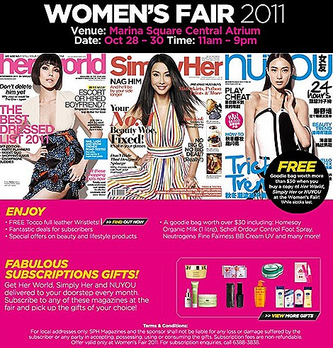 Her World Womens Fair 2011 Marina Square Subscription gifts free