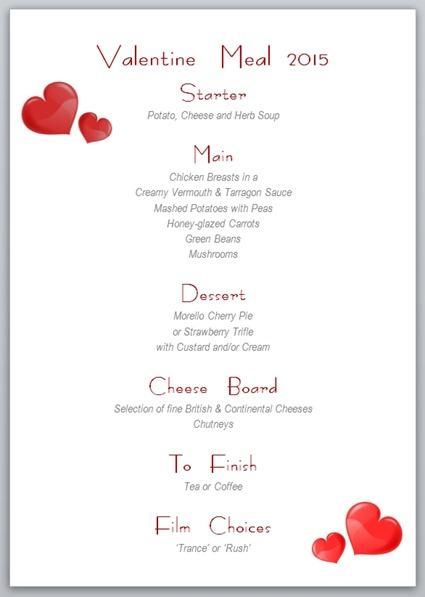 Valentine Meal 2015