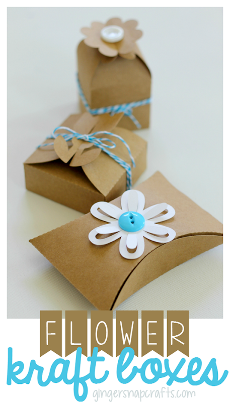 flower kraft boxes from GingerSnapCrafts.com #SihouetteCAMEO #SilhouettePortrait #tutorial