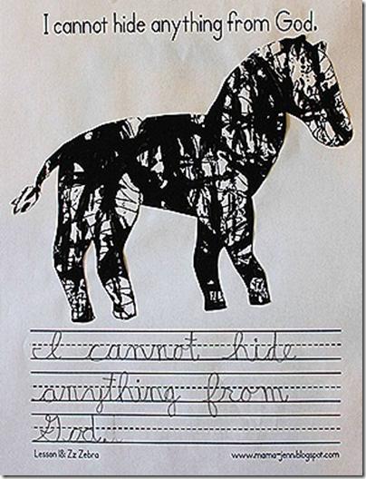 My Father's World Kindergarten Words to Remember Copywork: Zz for Zebra