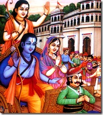 Sita, Rama and Lakshmana leaving for the forest
