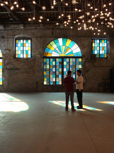 This is a light installation by Spencer Finch, set up for the Venice Biennale. 