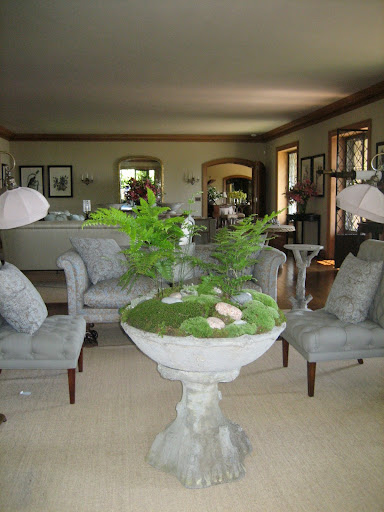 I love using faux bois concrete urns to create mini landscapes indoors.