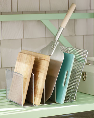 Use a file folder organizer as a clever place to store cutting boards without stacking.