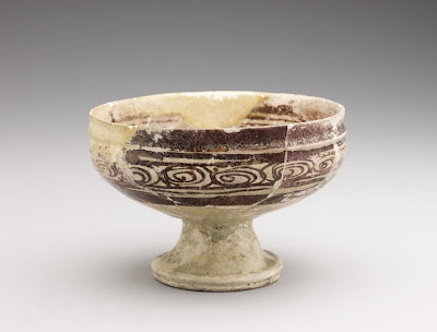 Footed bowl | Origin:  Syria | Period: 12th-13th century | Details:  Not Available | Type: Stone-paste painted under glaze | Size: H: 10.6  W: 15.8  cm | Museum Code: F1910.34 | Photograph and description taken from Freer and the Sackler (Smithsonian) Museums.