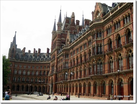St Pancras from the outside. Thank goodness somebody fought to save this beautiful building. Upstairs windows are now apartments.