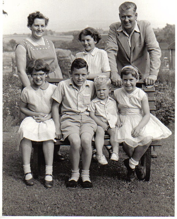 Sue Hepworth (front left) with her family - 1958