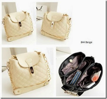 SY 844 Beige (186.000) - PU Leather, 30 x 31 x 17, tali panjang