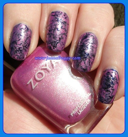 Zoya Rory Saran Wrap over Barry M Navy (2)