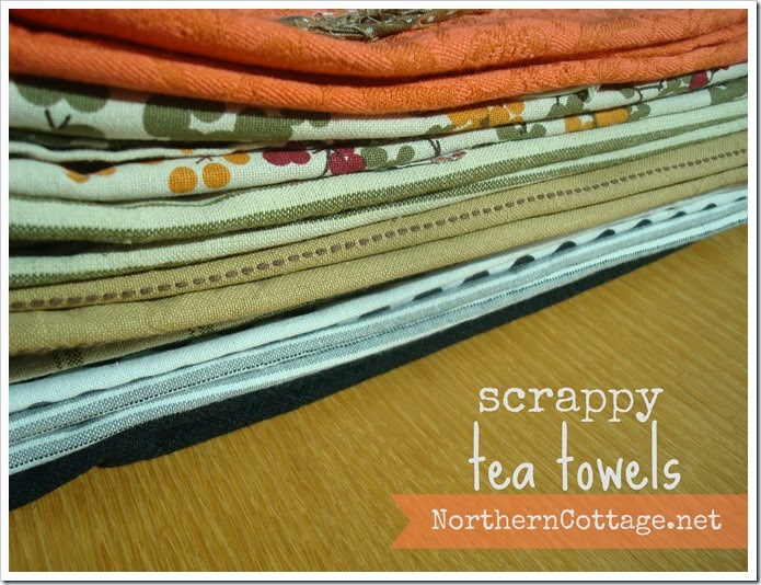 {Northern Cottage} a lovely stack of scrappy tea towels