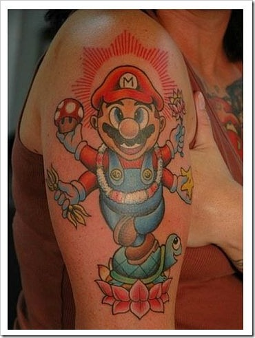 Funny fail tattoo - Mario arm tattoo.