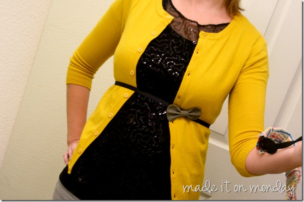simple sparkle top styled with cardigan and belt