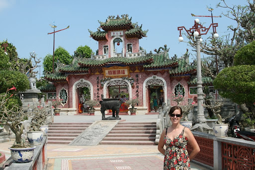 Lynette outside Phuoc Kien Asembly Hall in Hoi An, where Chinese Fujian maintained their community centre. No prams allowed.
