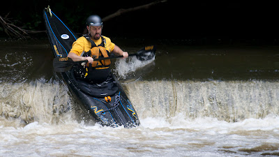 Chris running the dam above Glen Gray.