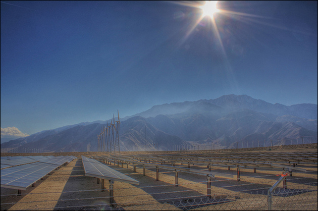 A desert solar installation in California. Photo: FredBaby13 / Flickr / Creative Commons License
