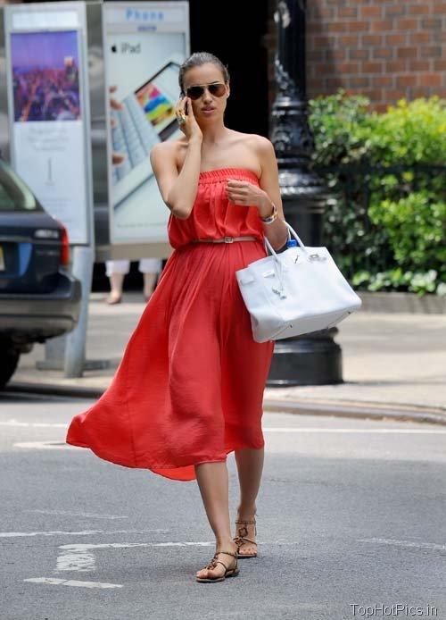 Irina Shayk in Hot Red Stylish Dress Pics 4