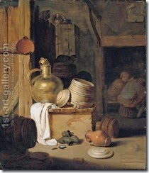 A-Barn-Interior-With-A-Still-Life-Of-Various-Pots,-Barrels,-And-Baskets-With-A-Cat,-Boors-Seated-Beyond
