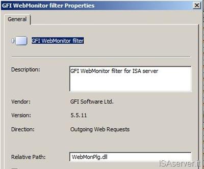 Proprietà del filtro ISAPI di GFI WebMonitor