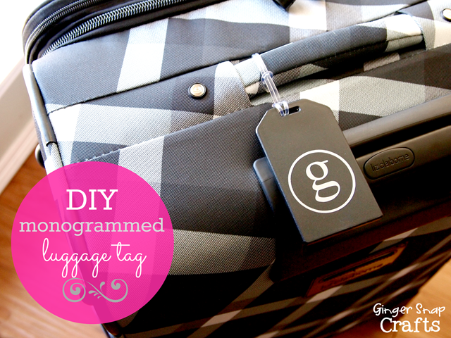 DIY monogrammed luggage tag from GingerSnapCrafts,com