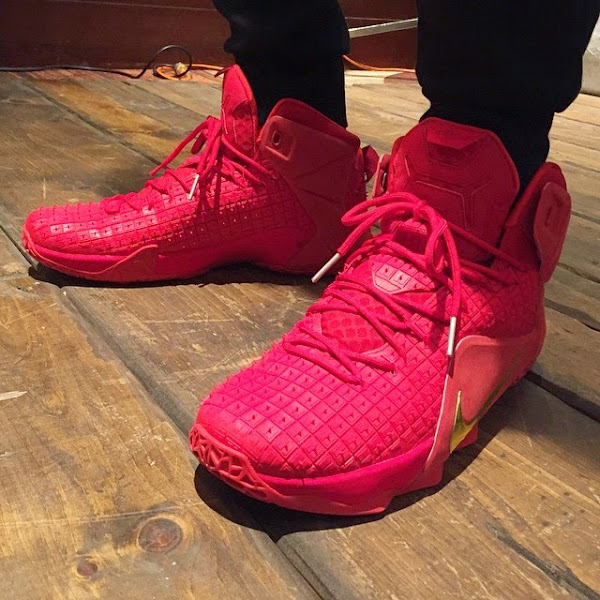 LeBron James Brings Out An AllRed Nike LeBron 12 EXT in NYC