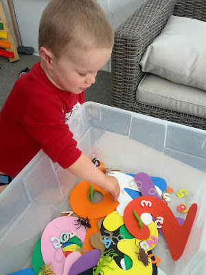 J checking out the bug and numbers in the sensory bin from And Next Comes L