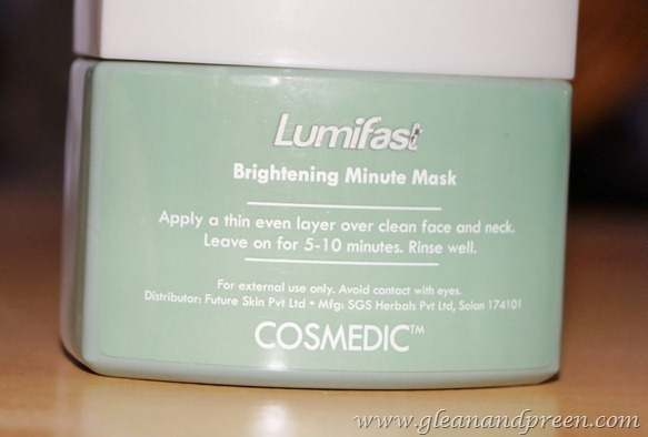 Cosmedic Lumifast Brightening Minute Mask Details