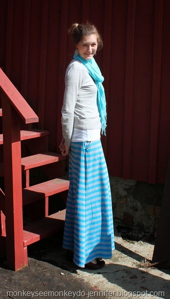 blue and gray striped maxi skirt