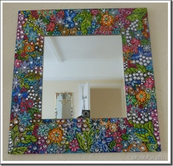 Handpainted jewelled mirror 7