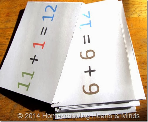 Full color addition subtraction flashcards from Homeschooling Hearts & Minds