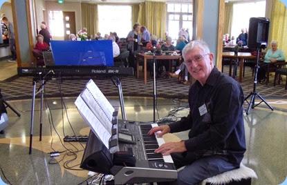 Club President, Gordon Sutherland, preparing to play his Korg Pa3X. Photo courtesy of Brian Gunson.